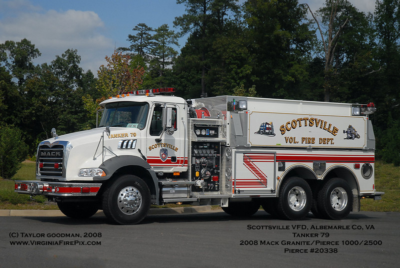 Scottsville VFD, Albemarle County, VA<br /> Tanker 79<br /> 2008 Mack Granite/Pierce 500/2500<br /> Pierce #20338