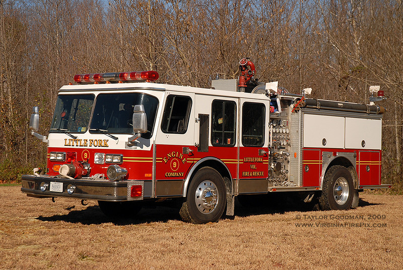 Little Fork VFD<br /> Culpeper County, VA<br /> Engine 9<br /> 1987 E-One Hurricane 1500/500/30<br /> E-One SO #5723<br /> ex Dale City VFD (Prince William County, VA) E-13