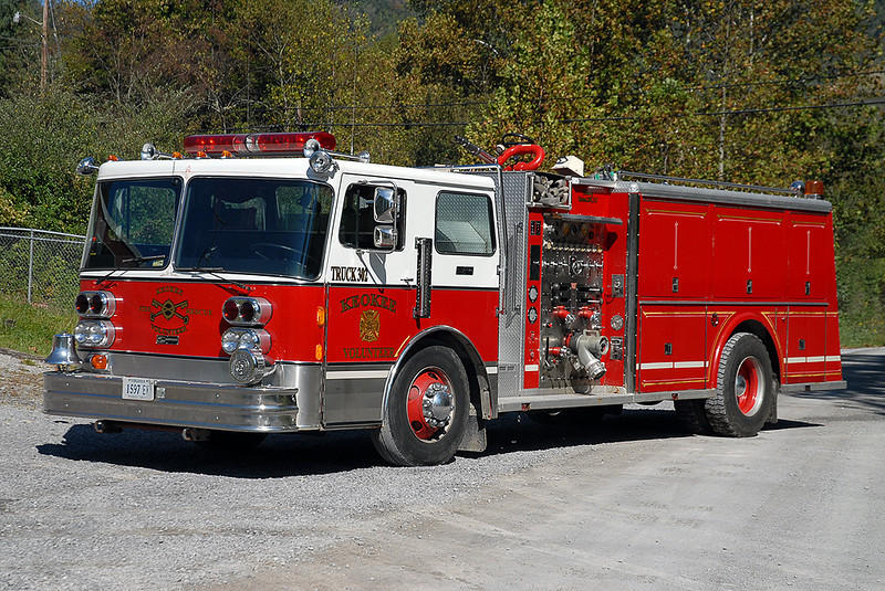 Keokee Engine 2 (also lettered Truck 302) is a Pemfab/Sanford 1500/1000 that was donated to them by the Union Hill, NY Fire Department.