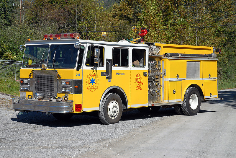 "Keokee Engine 1 originally served the Baltimore County FD, and then sustained major body damage in a vehicle accident.  Keokee purchased it ""as is,"" repaired the body in-house, and then placed it back in service."