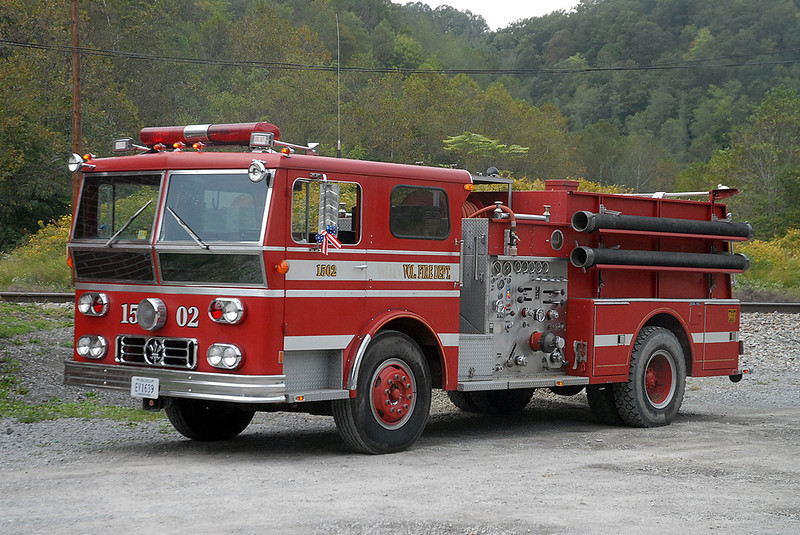 This 1976 Ward LaFrance was originally delivered to Brevard, NC as Engine 6.  It was then sold to the Valley VFD in Scott County, VA, and now serves the St Charles VFD in Lee as Engine 1502.