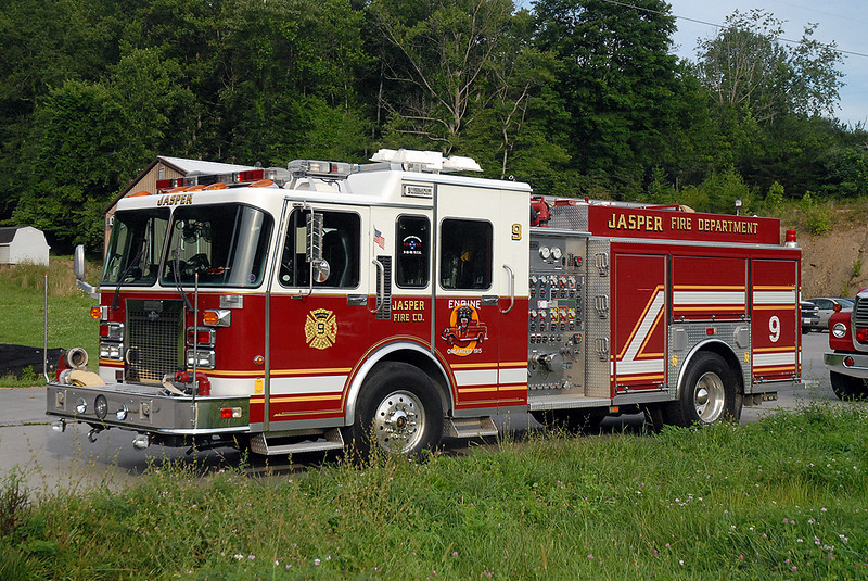 This 1995 Salusbury/Spartan was originally delivered to the Syosset, NY FD on Long Island, NY.  It later served the Jasper VFD from 2007-2009, when it was then sold to the Valley VFD in neighboring Scott County.