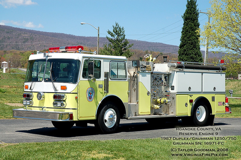 Roanoke County, VA<br /> Company 9 - Fort Lewis<br /> Reserve Engine 9<br /> 1987 Duplex/Grumman 1250/750<br /> Grumman SN: 16971-FC