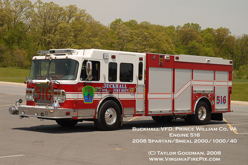 Buckhall Engine 516<br /> Prince William County, VA<br /> 2008 Spartan/Smeal 1000/2000/40