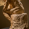 Rodin: Evolution of a Genius, exhibition of ~200 works of French sculptor Francois Auguste Rene Rodin (Auguste Rodin, 1840-1917), by Montreal Museum of Fine Arts & Musee Rodin in Paris, at Virginia Museum of Fine Arts November 21, 2015-March 13, 2016; includes plaster models, sketches, photos, bronze and marble pieces; photos allowed without flash - used 5D Mark III w/Canon 35/1.4 & UV filter; Rodin considered sketches heart of his work, with most sculpting in marble or casting in bronze done by others, under his supervision; large-size model of The Thinker (1903), over 2 times life size; made to be cast in bronze for Paris Pantheon, later moved to garden of Musee Rodin; as with many Rodin works, The Thinker began as element of The Gates of Hell, to represent Dante