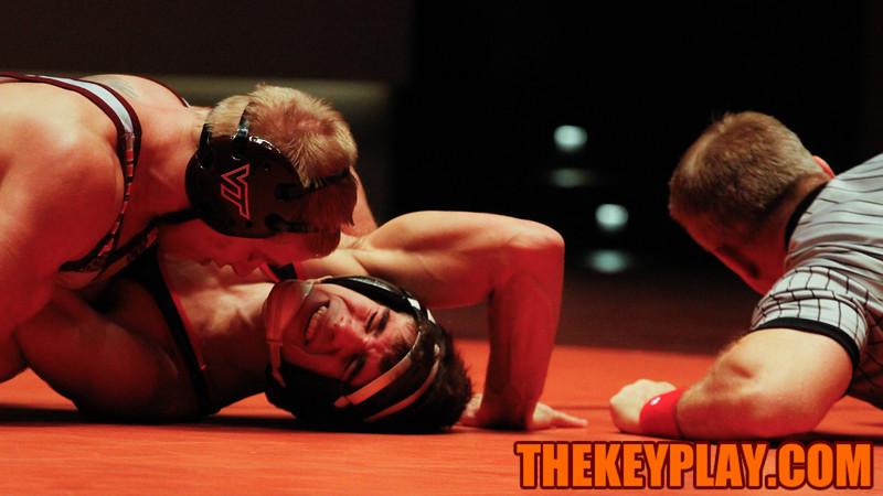 (141) Devin Carter pins NC State's Sam Speno in the second match. (Mark Umansky/TheKeyPlay.com)