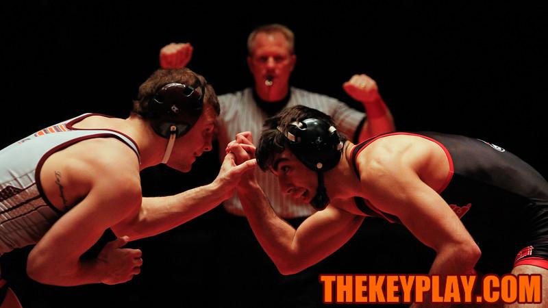 (149) Sal Mastriani faces NC State's Sam Melikian. (Mark Umansky/TheKeyPlay.com)