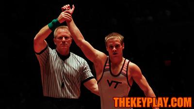 (141) Devin Carter beat Sam Speno with a pin to put Tech ahead 9-0 early. (Mark Umansky/TheKeyPlay.com)
