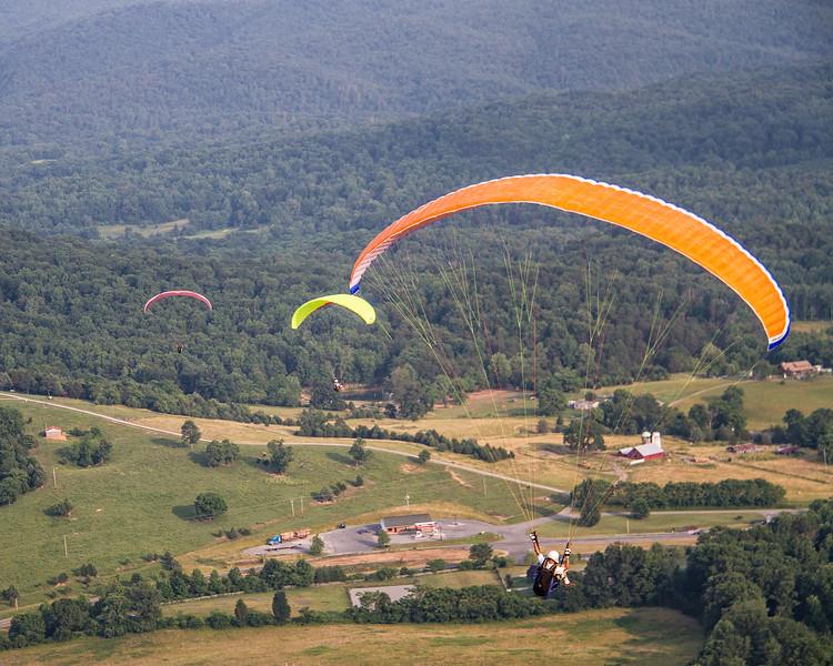 Parasailing down to Route 220, Eagle Rock, Botetourt, Va.