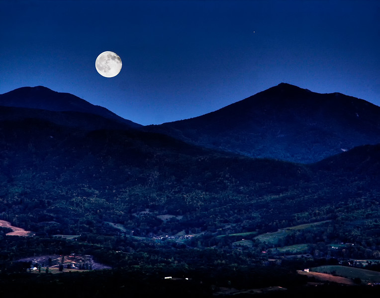 Moonrise over Goose Creek Valley with Peaks of Otter in background