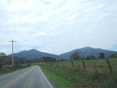 The Peaks of Otter - Sharp Top Mountain on the left, Flat Top Mountain on the right