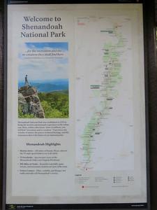 Shenandoah National Park sign and map, October 19, 2018