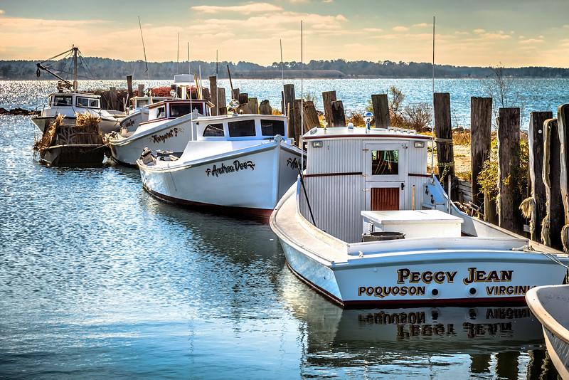 "Chesapeake Bay ""Deadrise"" workboat at dock in Poquoson Virginia."