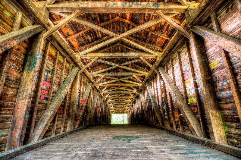 Walls with a story - inside Humpback Covered Bridge