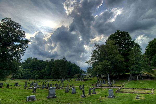 Dramatic storm clouds linger over Sinking Spring Cemetery in Abingdon, VA on Saturday, August 2, 2014. Copyright 2014 Jason Barnette