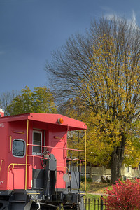 Fall colors surround the caboose in Abingdon, VA on Monday, October 27, 2014. Copyright 2014 Jason Barnette