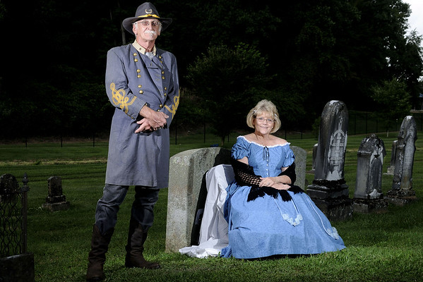 Charlie Barnette portrays Colonel Samuel Vance Fulkerson and Carol Hawthorne-Taylor portrays Catherine Fulkerson-Hurt during the Living History Tour of the Sinking Spring Cemetery, presented by the Historical Society of Washington County, as part of the Virginia Highlands Festival in Abingdon, VA on Saturday, August 2, 2014. Copyright 2014 Jason Barnette