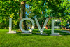 The LOVE sign, a promotional tool created by the Virginia Tourism Corporation, located on the Barter Green in Abingdon, VA on Saturday, July 28, 2012. Copyright 2012 Jason Barnette
