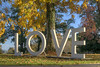 Brilliant yellows and greens surround the LOVE sign on the lawn of the Martha Washington Hotel & Spa in Abingdon, VA on Friday, October 24, 2014. Copyright 2014 Jason Barnette
