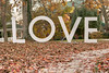 Fallen leaves cover the sidewalk path in front of the LOVE sign on the lawn of the Martha Washington Hotel & Spa in Abingdon, VA on Saturday, November 2, 2013. Copyright 2013 Jason Barnette