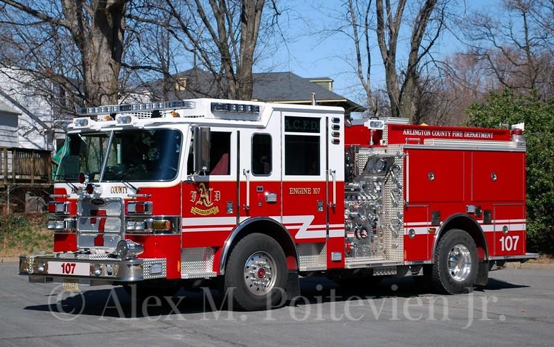 Arlington County Fire Department<br /> Fairlington<br /> Engine-107<br /> 2009 Pierce Arrow XT 1500/750<br /> Photo by: Alex M. Poitevien Jr.