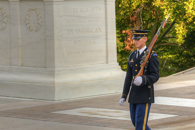 A sentinel patrols the area at the Tomb of the Unknown Soldier at Arlington National Cemetery in Arlington, VA on Monday, August 17, 2015. Copyright 2015 Jason Barnette