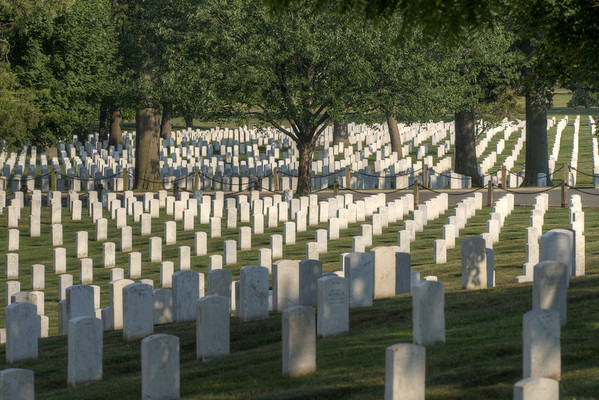 Long rows of tombstones at Arlington National Cemetery in Arlington, VA on Monday, August 17, 2015. Copyright 2015 Jason Barnette