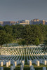 The city skyline stands above the trees at Arlington National Cemetery in Arlington, VA on Monday, August 17, 2015. Copyright 2015 Jason Barnette