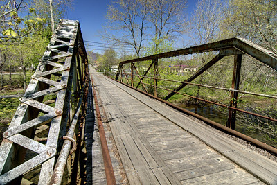 A one-lane bridge made of steel with wooden planks on Shawnee Avenue West in Big Stone Gap, VA on Wednesday, April 23, 2014. Copyright 2014 Jason Barnette