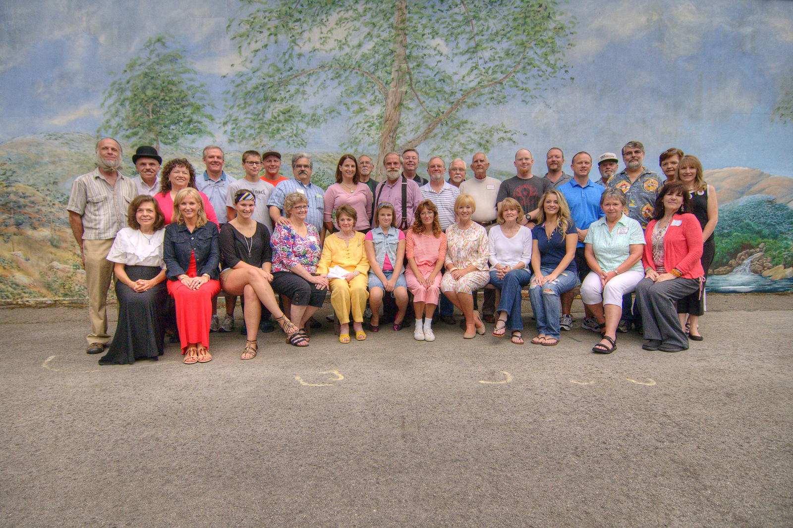 The former cast poses for a cast photo on stage as The Trail of the Lonesome Pine Outdoor Drama held a 50th Anniversary Celebration and Reunion in Big Stone Gap, VA on Friday, July 26, 2013. Copyright 2013 Jason Barnette