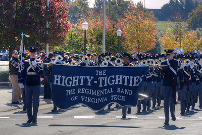 The Highty-Tighties, the Corps of Cadets marching band, marches down Spring Road in front of Lane Stadium as the Virginia Tech University Hokies challenged the Duke University Blue Devils in football at Lane Stadium in Blacksburg, VA on Saturday, October 26, 2013. Copyright 2013 Jason Barnette