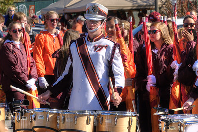The Marching Virginians perform in the Cassell Coliseum parking lot as the Virginia Tech University Hokies challenged the Duke University Blue Devils in football at Lane Stadium in Blacksburg, VA on Saturday, October 26, 2013. Copyright 2013 Jason Barnette