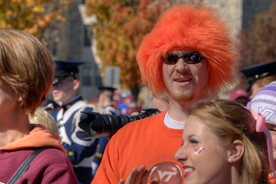 A man dressed for the game watches the performances as the Virginia Tech University Hokies challenged the Duke University Blue Devils in football at Lane Stadium in Blacksburg, VA on Saturday, October 26, 2013. Copyright 2013 Jason Barnette