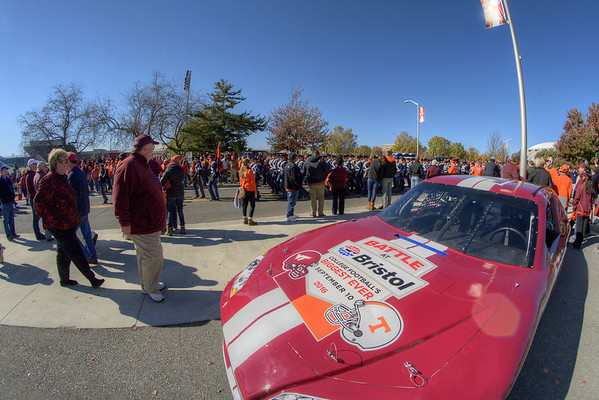 A race car decorated for the forthcoming Battle at Bristol, the 2016 game between Virginia Tech and Tennessee, sits in front the stadium as the Virginia Tech University Hokies challenged the Duke University Blue Devils in football at Lane Stadium in Blacksburg, VA on Saturday, October 26, 2013. Copyright 2013 Jason Barnette