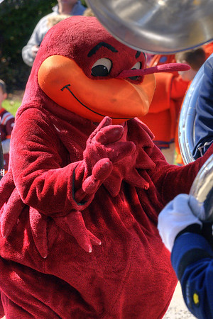 The Hokie Bird mascot dances as The Highty-Tighties perform on Spring Road in front of Lane Stadium as the Virginia Tech University Hokies challenged the Duke University Blue Devils in football at Lane Stadium in Blacksburg, VA on Saturday, October 26, 2013. Copyright 2013 Jason Barnette