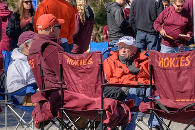 People try to stay warm at the Cassell Coliseum parking lot as the Virginia Tech University Hokies challenged the Duke University Blue Devils in football at Lane Stadium in Blacksburg, VA on Saturday, October 26, 2013. Copyright 2013 Jason Barnette