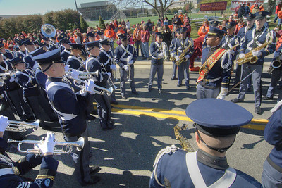 The Highty-Tighties, the Corps of Cadets marching band, performs on Spring Road in front of Lane Stadium as the Virginia Tech University Hokies challenged the Duke University Blue Devils in football at Lane Stadium in Blacksburg, VA on Saturday, October 26, 2013. Copyright 2013 Jason Barnette