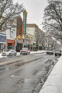 Heavy snow covers State Street near the Paramount Theater in Bristol, VA on Thursday, February 13, 2014. Copyright 2014 Jason Barnette