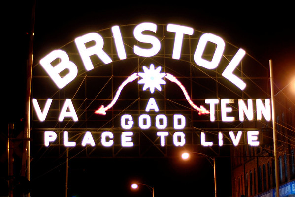 The iconic sign situated in the middle of State Street, which divides the Virginia and Tennessee sides of the city, in Bristol, Virginia on Wednesday, April 20, 2011. Copyright 2011 Jason Barnette