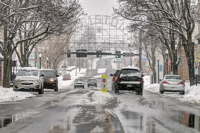 Heavy snow covers State Street in Bristol, VA on Thursday, February 13, 2014. Copyright 2014 Jason Barnette