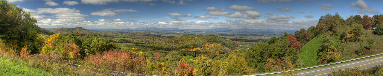 View of fall colors across a vast expanse of mountain landscapes at the Chilhowie Overlook on Whitetop Road in Chilhowie, VA on Sunday, October 19, 2014. Copyright 2014 Jason Barnette