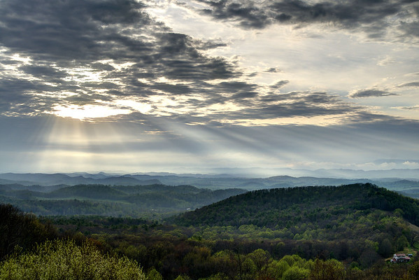 The sun breaks through the clouds and beams down light from above at the Chilhowie Overlook on Whitetop Road near Chilhowie, VA on Monday, April 28, 2014. Copyright 2014 Jason Barnette