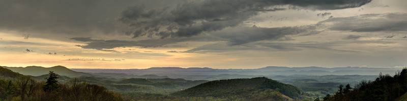The sun begins to break through the heavy clouds at the Chilhowie Overlook on Whitetop Road near Chilhowie, VA on Monday, April 28, 2014. Copyright 2014 Jason Barnette