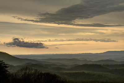 Heavy clouds linger above the valleys below at the Chilhowie Overlook on Whitetop Road near Chilhowie, VA on Monday, April 28, 2014. Copyright 2014 Jason Barnette