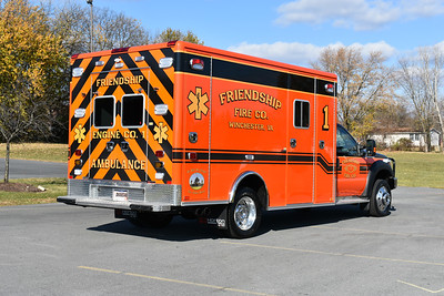 A back end view of Medic 1, a 2016 Ford F550 4x4/Horton.