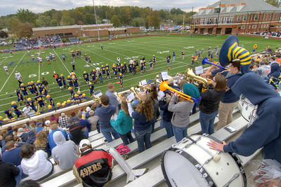 The band plays during the Homecoming Football Game as the Wasps took on the Hampden-Sydney College Tigers, at Emory & Henry College in Emory, VA on Saturday, October 19, 2013. Copyright 2013 Jason Barnette