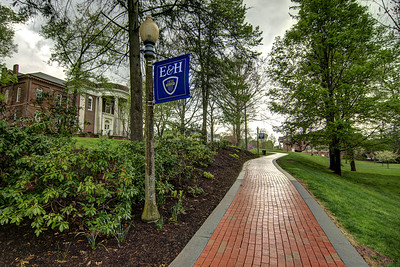 The brick sidewalk is shiny after heavy rains at Emory & Henry College in Emory, VA on Monday, April 28, 2014. Copyright 2014 Jason Barnette