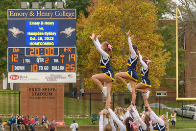 The cheerleaders perform during the Homecoming Football Game as the Wasps took on the Hampden-Sydney College Tigers, at Emory & Henry College in Emory, VA on Saturday, October 19, 2013. Copyright 2013 Jason Barnette