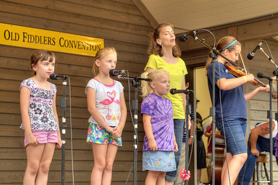 A group of children perform during the 78th Annual Old Fiddlers' Convention in Galax, VA on Saturday, August 10, 2013. Copyright 2013 Jason Barnette