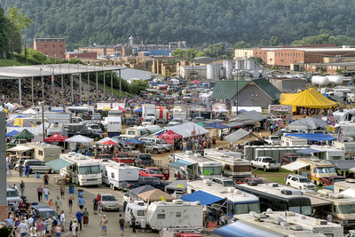 Dozens of campers surround the ampitheater during the 78th Annual Old Fiddlers' Convention in Galax, VA on Saturday, August 10, 2013. Copyright 2013 Jason Barnette